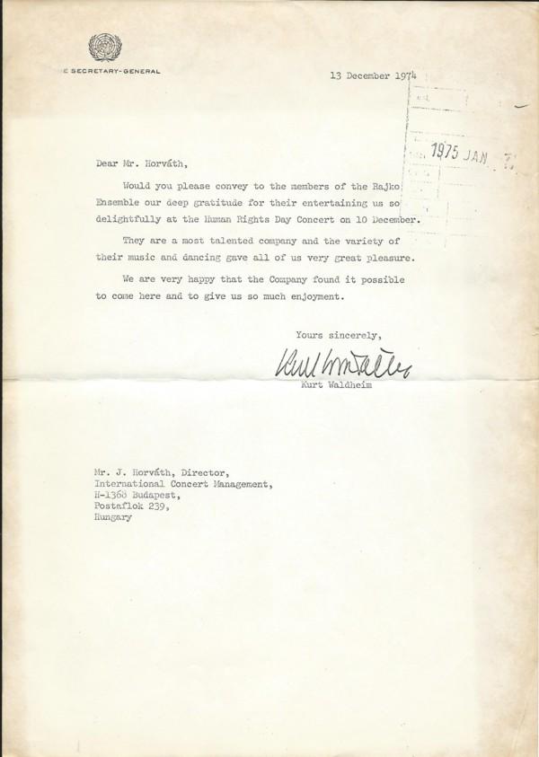 Kurt Waldheim köszönő levele1